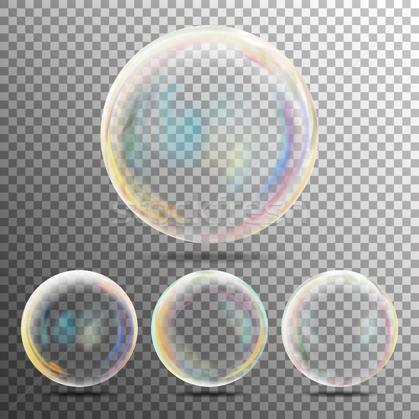 Realistic Soap Bubbles With Rainbow Reflection Stock photo © pikepicture