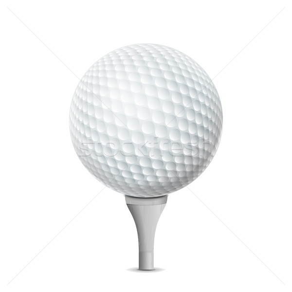 Golf Ball On White Tee. Vector Realistic Illustration Isolated Stock photo © pikepicture
