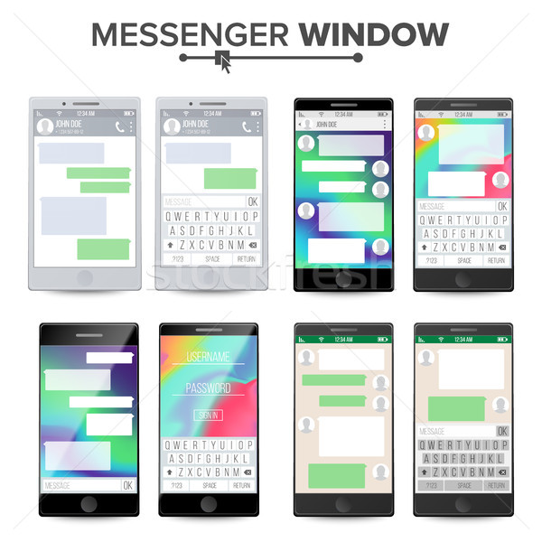 Smartphone Messenger Mobile App For Talking Vector Stock photo © pikepicture