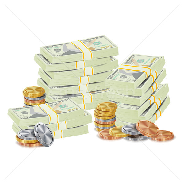 Hundreds Dollars Vector Packing In Bundles Of Bank Notes, Bills, Gold Coins. Cartoon Money Stacks Il Stock photo © pikepicture