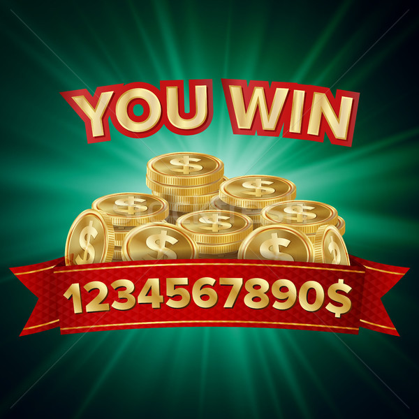 You Win Vector. Jackpot Background. Jackpot Sign With Gold Coins. Shining Banner Illustration. Stock photo © pikepicture