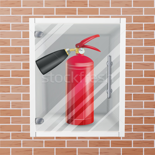 Fire Extinguisher In Wall Niche Vector. Realistic Red Fire Extinguisher Illustration Stock photo © pikepicture
