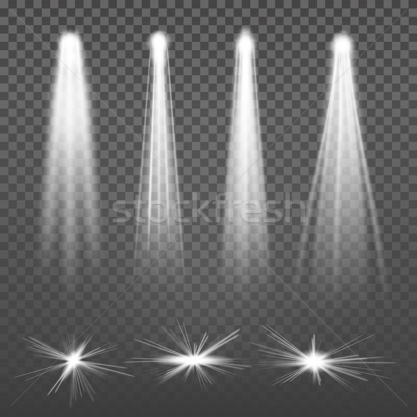 White Beam Lights Spotlights Vector. Glowing Light Effects Isolated On Transparent Background. Set O Stock photo © pikepicture