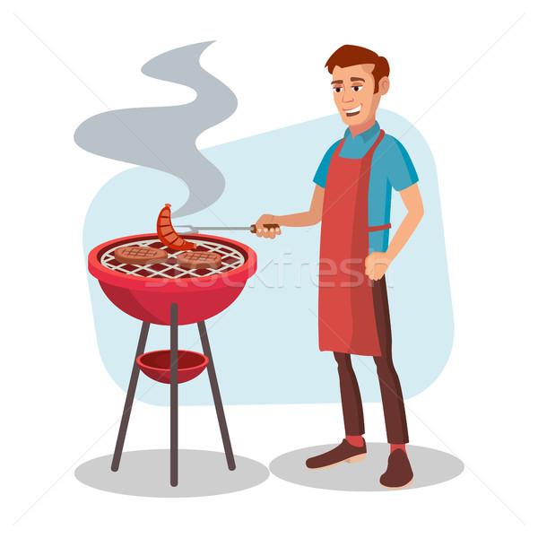Сток-фото: барбекю · приготовления · вектора · человека · Кука · гриль