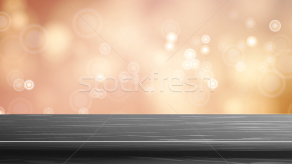 Wood Table Top Vector. Blur Autumn Orange Background. Bokeh Background With Vintage Filter. Good For Stock photo © pikepicture