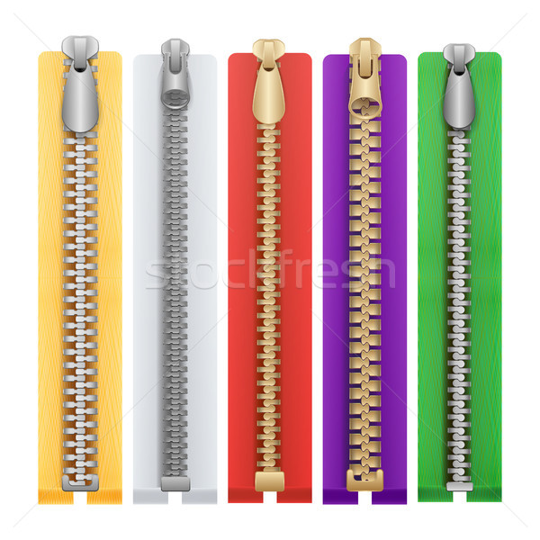 Clothes Zipper Isolated Vector. Metal Zippers Template Illustration. Stock photo © pikepicture