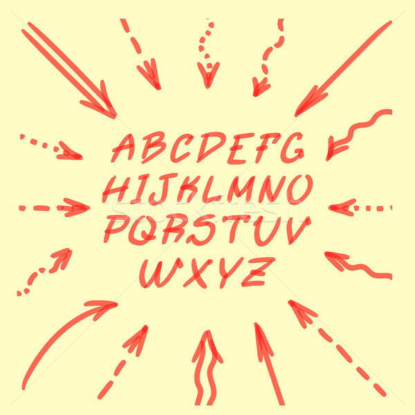 Marker Hand Written Doodle Arrows And Letters Vector Stock photo © pikepicture