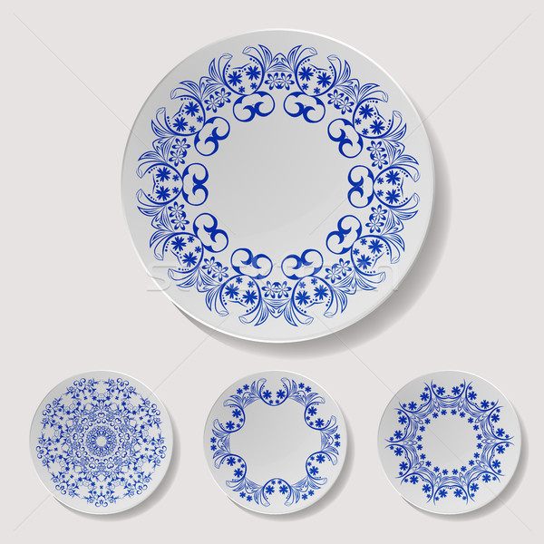 Realistic Plate Vector Set. Closeup Porcelain Tableware Isolated. Ceramic Kitchen Dish Top View. Coo Stock photo © pikepicture