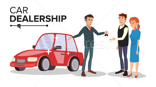 Car Dealer Vector. Car Dealership Agent. Auto Selling Concept. Isolated Flat Cartoon Character Illus Stock photo © pikepicture