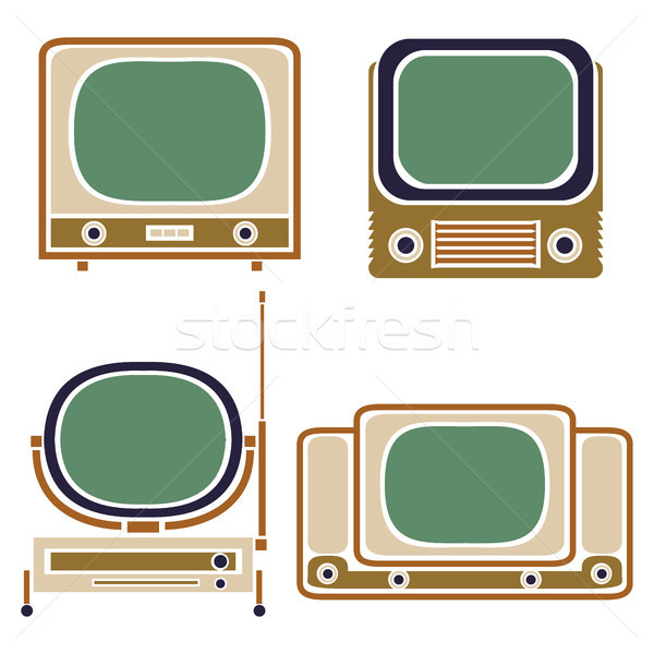 Old TV. Vintage Vector Set. Retro Apparatus Stock photo © pikepicture