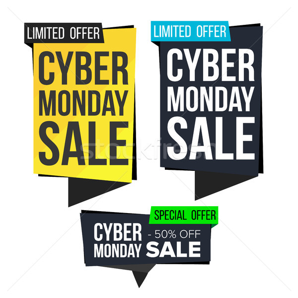 Cyber Monday Sale Banner Set Vector. November Online Shopping. Discount Banners. Monday Sale Banner  Stock photo © pikepicture