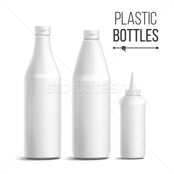 Beyaz şişe ayarlamak vektör 3D gerçekçi Stok fotoğraf © pikepicture