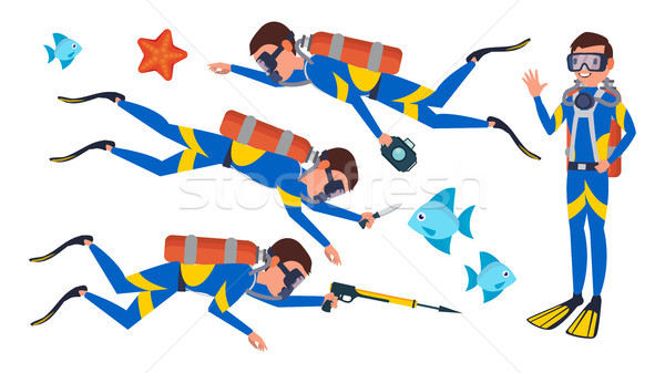 Scuba Diver Vector. Snorkeling Diving. Underwater. Isolated Flat Cartoon Character Illustration Stock photo © pikepicture