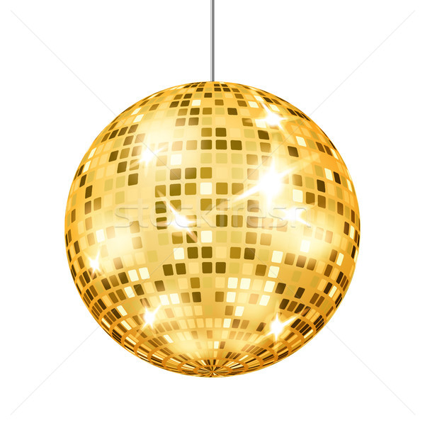 Gold Disco Ball Vector. Dance Club Retro Party Classic Light Element. Mirror Ball. Isolated On White Stock photo © pikepicture