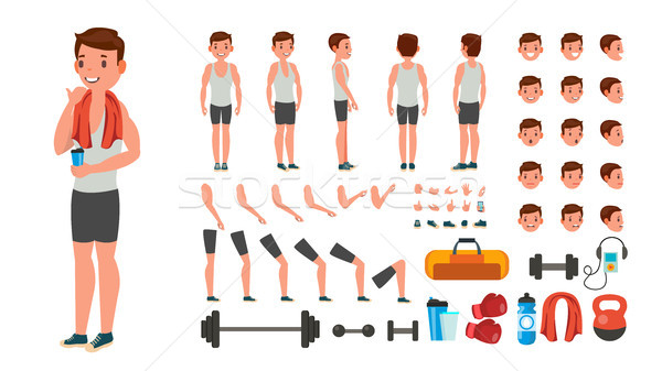 Fitness Man Vector. Animated Athlete Character Creation Set. Full Length, Front, Side, Back View, Ac Stock photo © pikepicture