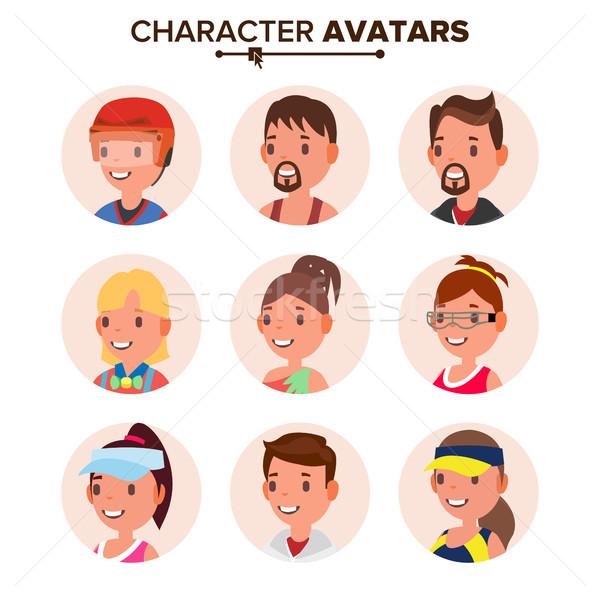 Character People Avatar Set Vector. Face. Default Avatar Placeholder. Cartoon, Comic Art Flat Isolat Stock photo © pikepicture