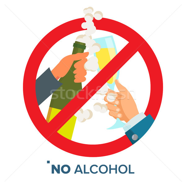 No Alcohol Sign Vector. Strike through Red Circle. Prohibiting Alcohol Beverages. Isolated Flat Cart Stock photo © pikepicture