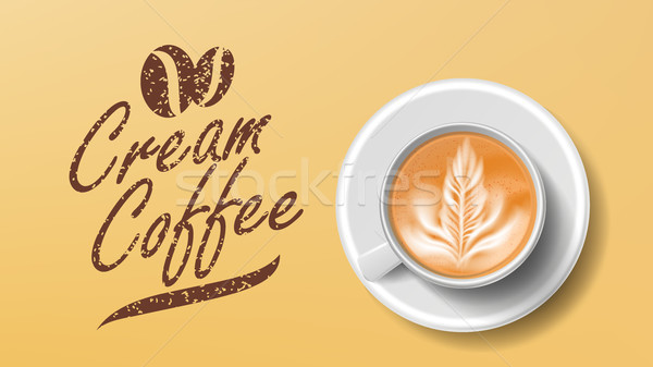 Cup Of Coffee Vector. Orange Background Top View. Cream Coffee Mug. Caffeine Hot Drink. Illustration Stock photo © pikepicture
