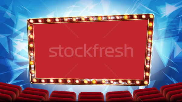 Retro Cinema Banner Vector. Light Bulbs. Red Theater Curtain. Silk Textile. Shining Retro Light Bann Stock photo © pikepicture