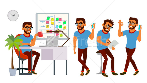 Business Man Character Vector. Working Hindu, Man. Team Room. Brainstorming. Environment Process In  Stock photo © pikepicture