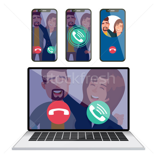 IP Telephony Vector. Laptop Display Screen Mobile Smartphone. Receiving Incoming Call. Calling Servi Stock photo © pikepicture