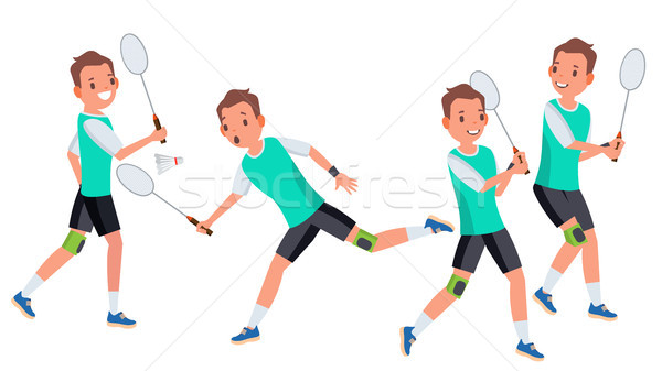Badminton Homme joueur vecteur action raquette Photo stock © pikepicture