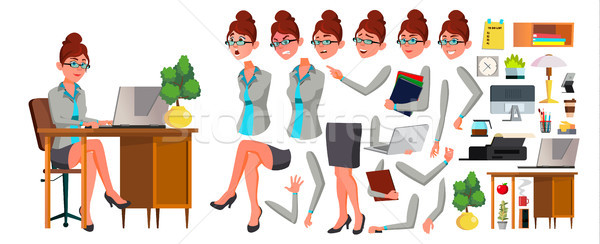 Office Worker Vector. Woman. Animation Creation Set. Secretary, Accountant. Professional Officer, Sc Stock photo © pikepicture