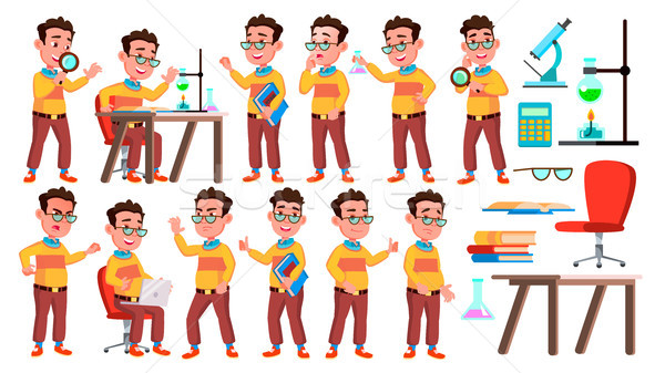 Boy Schoolboy Kid Poses Set Vector. High School Child. Child Pupil. University, Graduate, Class. For Stock photo © pikepicture