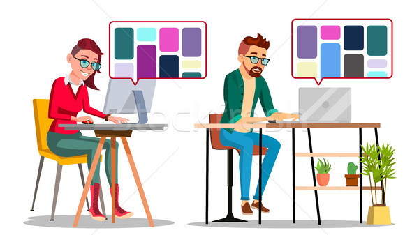 Graphic Designer At Work Vector. Man, Woman Searching For References On Popular Creative Web Site. F Stock photo © pikepicture