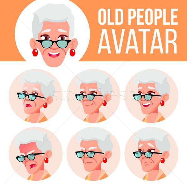 Velha avatar conjunto vetor cara emoções Foto stock © pikepicture
