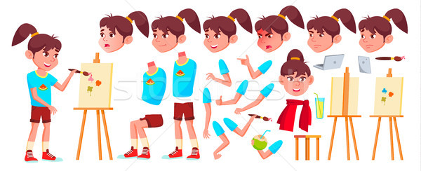 Girl Schoolgirl Kid Vector. High School Child. Animation Creation Set. Face Emotions, Gestures. Chil Stock photo © pikepicture