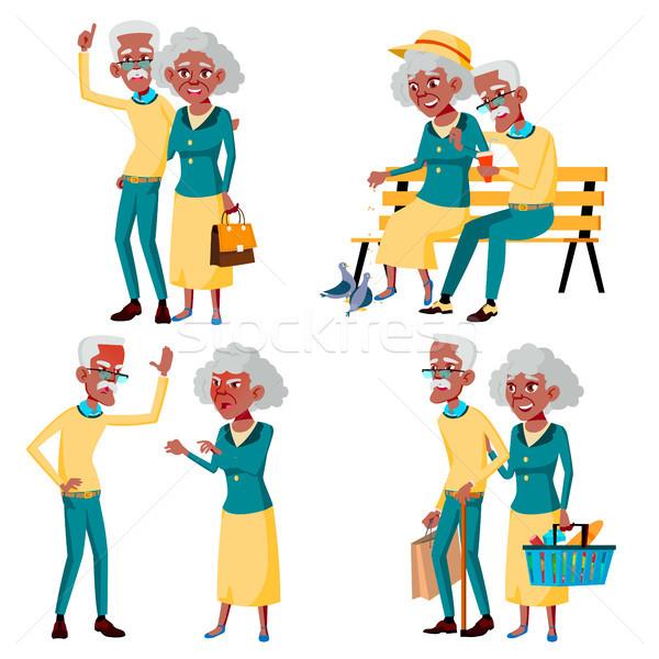 Elderly Couple Set Vector. Grandfather And Grandmother. Social Concept. Senior Couple. Black, Afro A Stock photo © pikepicture