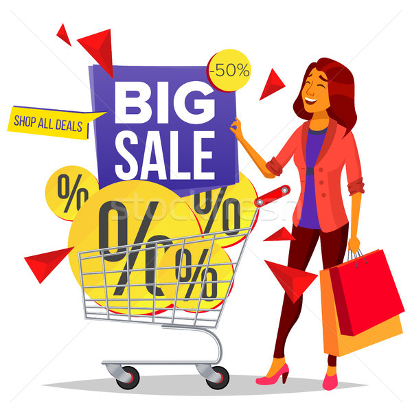 Shopping Woman Vector. Grocery Cart. Purchasing Concept. Smiling Girl. Big Discount. Holding Paper B Stock photo © pikepicture