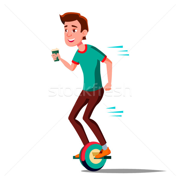 Teen Boy On Hoverboard Vector. Riding On Gyro Scooter. One-Wheel Electric Self-Balancing Scooter. Po Stock photo © pikepicture