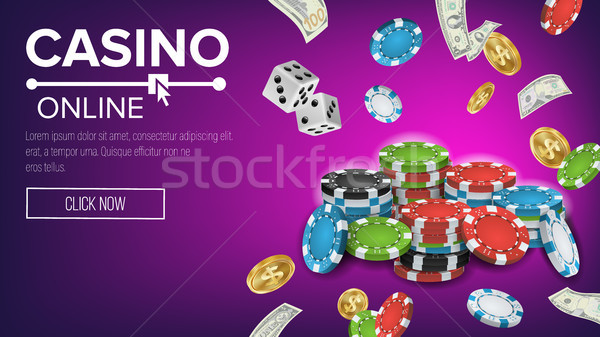 Casino affiche vecteur ligne poker jeux Photo stock © pikepicture