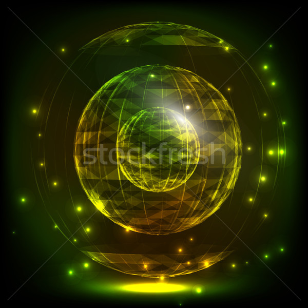 The Sphere Consisting of Triangles and lines. Global Digital Connection. Abstract Globe Grid. Wirefr Stock photo © pikepicture