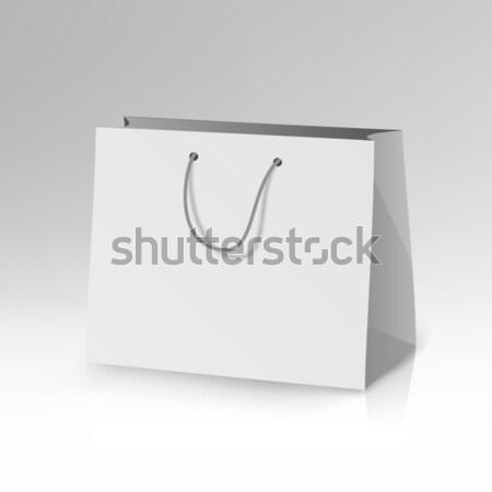 Foto d'archivio: Carta · bianca · bag · modello · vettore · 3D · realistico