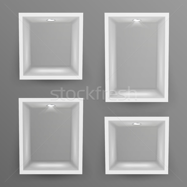 Empty Show Window, Niche Set Vector. Abstract Clean Shelf, Niche, Wall Showcase. Good For Exhibit, P Stock photo © pikepicture