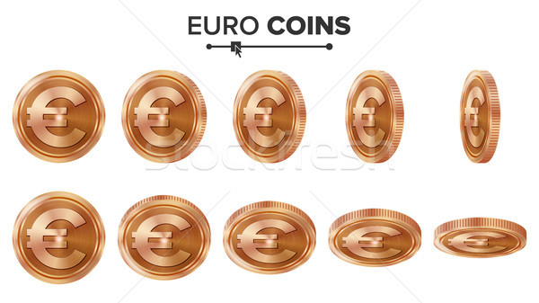 Money. Euro 3D Copper Coins Vector Set. Realistic Illustration. Flip Different Angles. Money Front S Stock photo © pikepicture