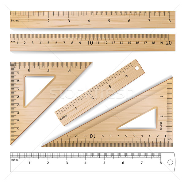 Wooden Rulers Set Vector. Metric Imperial. Centimeter, Inch. Classic Education Measure Tools Equipme Stock photo © pikepicture