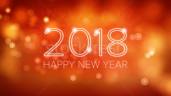 Happy New Year 2018 Background Vector. Orange Bokeh In Vintage Style. Flyer Or Brochure Design Templ Stock photo © pikepicture