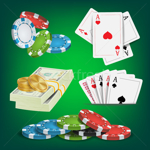Poker design vecteur argent puces Photo stock © pikepicture