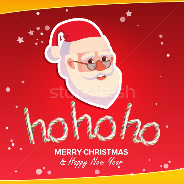Ho-Ho-Ho Phrase Sign Vector. Merry Christmas Greeting Red Background Card. Santa Claus. Place For Te Stock photo © pikepicture