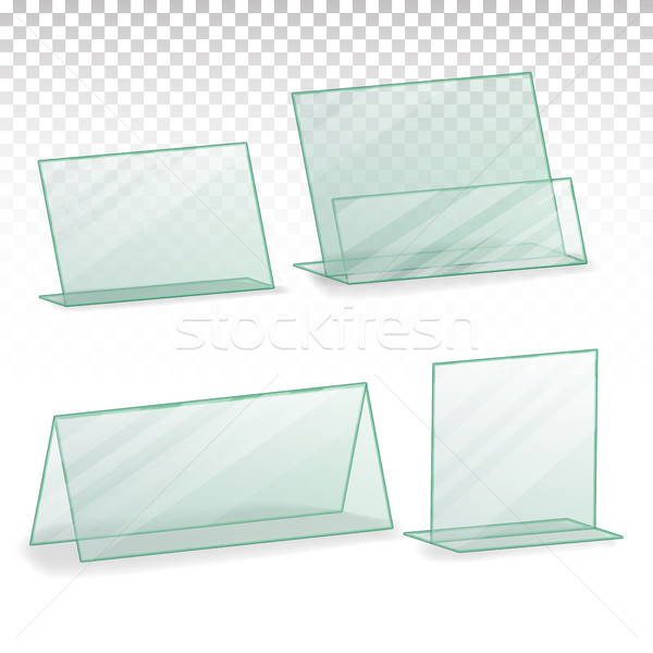 Plastic Holder Vector. Empty Plastic Table Holder For Business Card. Isolated Illustration Stock photo © pikepicture