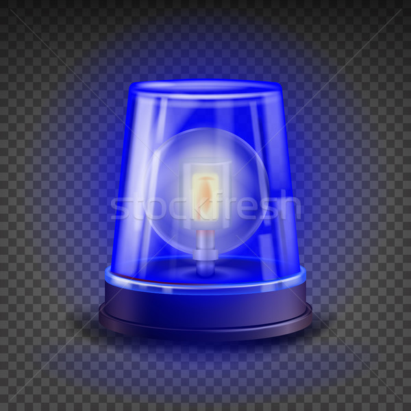 Blue Flasher Siren Vector. 3D Realistic Object. Light Effect. Rotation Beacon For Police Cars Ambula Stock photo © pikepicture