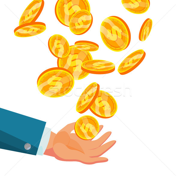 Dollar Falling To Business Hand Vector. Flat, Cartoon Gold Coins Illustration. Finance Coin Design.  Stock photo © pikepicture