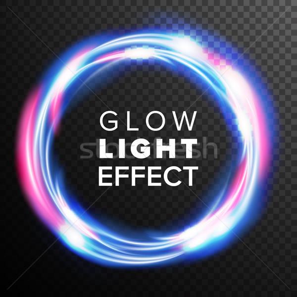 Azul círculos brillo luz efecto vector Foto stock © pikepicture