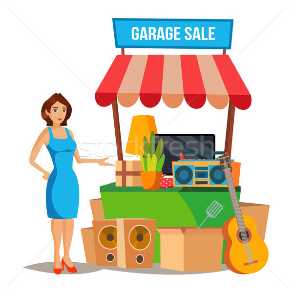 Yard Sale Vector. Household Items Sale. Woman Manning a Garage Sale. Cartoon Character Illustration Stock photo © pikepicture