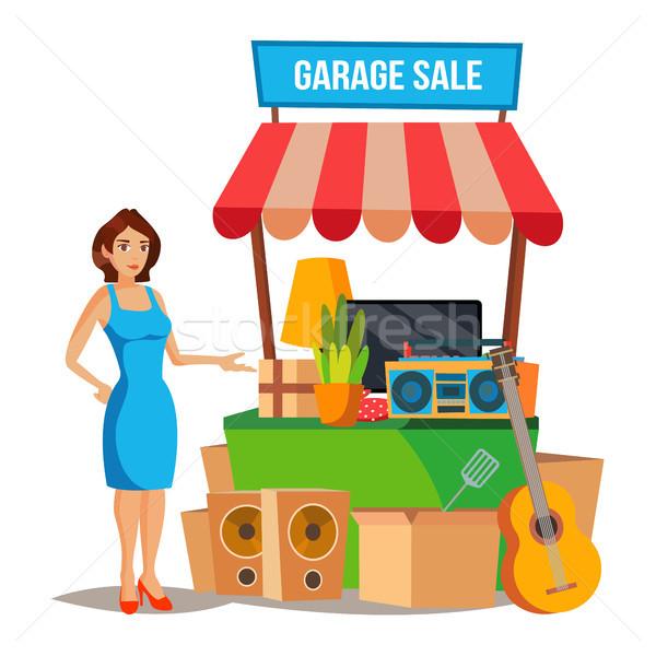 продажи вектора домашнее хозяйство женщину гаража Сток-фото © pikepicture