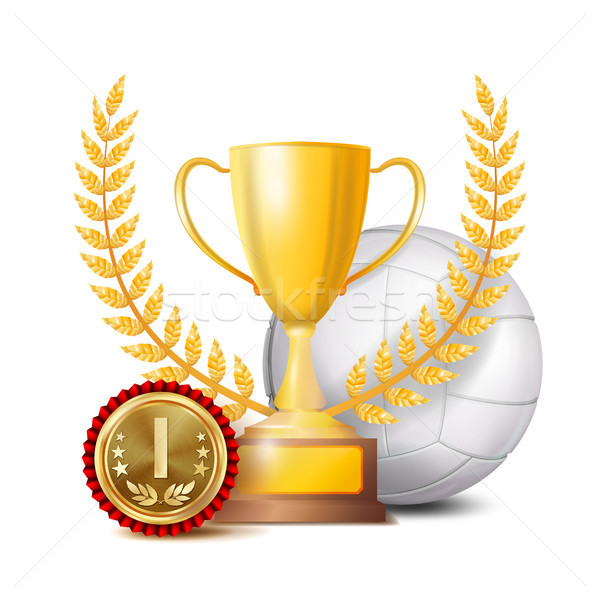 Volleyball Achievement Award Vector. Sport Banner Background. White Ball, Winner Cup, Golden 1st Pla Stock photo © pikepicture